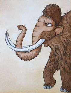 wooly mammoth illustration with ink and watercolour