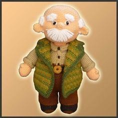 *This is a CROCHET PATTERN and NOT the finished toy* This chubby grandpa was inspired on my own Grandpa. When I was a kid, he always read me fairytales, took me to the park and gave me candies :) He was a really sweet grandpa and I will always remember him. Hope you like it!