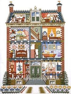 Dolls House By: Pako Has anyone seen this pattern in USA? Cross Stitch House, Cross Stitch Kits, Cross Stitch Charts, Cross Stitch Designs, Cross Stitch Patterns, Cross Stitching, Cross Stitch Embroidery, Stitch Doll, Cross Stitch Pictures