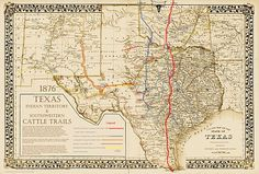 1851 – Cattle Drives and Texas Fever Oklahoma Tattoo, Texas Tattoos, Texas Gold, Republic Of Texas, Cattle Drive, Loving Texas, Texas History, Trail Maps, Historical Maps