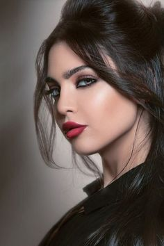 Woman's face #make-up, flawless, red lips, brunette