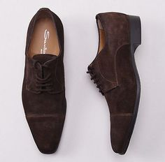 SANTONI Chocolate Brown Suede Cap Toe Derby Dress Shoes