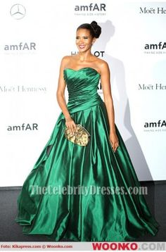 Denny Mendez Green A-Line Formal Dress amfAR Milano Gala 2013 a3e148f666e3