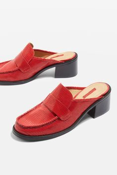 I love these Topshop red mules for a cool pop of colour to an autumnal look <3
