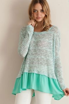 NEW! Mint green lightweight sweeter with ruffle hem Love this Boho chic look! $34 www.shopclosetcouture.com