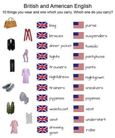 British and American English | Photo @ Square Lulu. http://squarelulu.blogspot.pt/2012/07/spot-difference-british-x-american.html