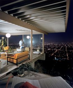 Architect Pierre Koenig. The Stahl House - Case Study House #22.  Los Angeles, CA.  Photo by Julius Shulman.