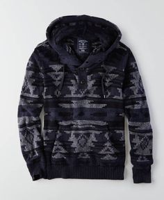 American Eagle Textured Baja Hoodie, Men's, Indigo