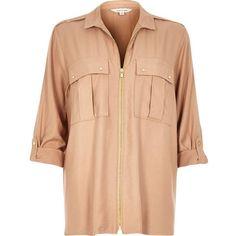 River Island Beige zip-up military shirt (€64) via Polyvore featuring tops, epaulet shirt, river island, red shirt, military fashion y beige shirt