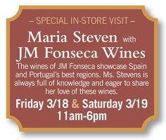 Maria Steven with JM Fonseca Wines will be sampling today 6 Today, Wine Sale, Cheese Shop, Spain And Portugal, Wine And Spirits, Deli, Wines, Liquor, Alcohol