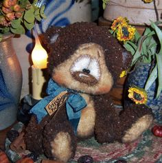"Primitive Raggedy Teddy Fuzzy Cub Brown Bear 5"" Doll ★ Vtg Patti's Ratties Ornie"