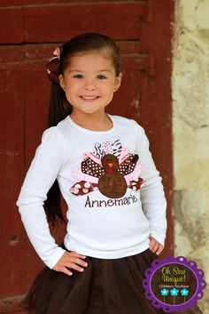Beautiful Brown and Pink Turkey Ribbon shirt. $20.00, via Etsy.