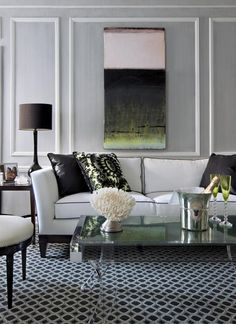 Contemporary+Living+Rooms | modern gray white green living room shadow box molding | theLENNOXX