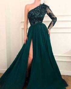 long prom dresses - Vestidos de festa One Shoulder Green Evening Dress Muslim Lebanon Dubai Chiffon Formal Party Gowns prom Dress Vestido de festa Green Evening Dress, Lace Evening Dresses, Elegant Dresses, Green Dress, Formal Dresses, Formal Prom, Dresses Dresses, Green Long Dresses, Beautiful Dresses