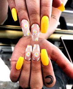 Cute Spring Nails, Spring Nail Art, Cute Nails, Yellow Nails Design, Yellow Nail Art, Color Yellow, Bright Yellow, Summer Acrylic Nails, Best Acrylic Nails
