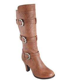 Look what I found on #zulily! Tan Triple Buckle Boot by Anna Shoes #zulilyfinds