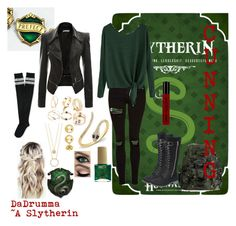 """""""Slytherin Prefect"""" by dadrumma ❤ liked on Polyvore featuring Topshop, Anne Sisteron, Kate Spade, BERRICLE, ncLA, NYX, Aéropostale, harrypotter and slytherin"""