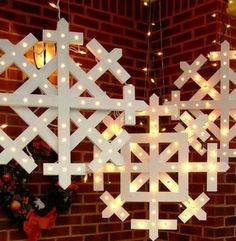 DIY Outdoor Christmas Lighting Ideas - Wooden Snowflakes - Click Pic for 21 DIY Christmas Ornaments