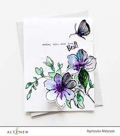 Stamping, Watercoloring and Die cutting with Wild Hibiscus and Best Mom Stamp sets and dies. We just love this card by Angieszka!