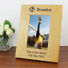 Personalise this Oak Finish Football Frame with 1 line of a text above the photo of up to 15 characters and 2 lines of 25 characters below the Personalized Football, Personalized Items, Gifts For Sports Fans, Man Of The Match, Fathers Day, It Is Finished, Valentines, Frames, Characters
