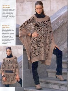 Hooked on crochet: Poncho de crochê diferente/Different crochet poncho