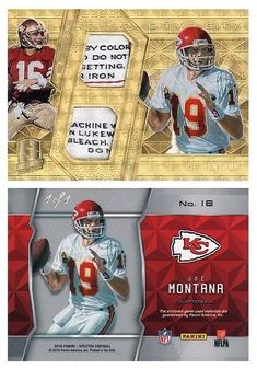 Joe Montana 2016 Panini Spectra 16 City 2 City (2 Patch) (Gold Laundry Tags) (#1/1)