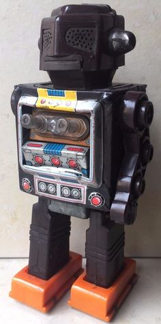 Vintage Collectible Japanese Tin Toy Mechanical Robot On Batteries S.H. Brand  #SH