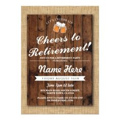 #name - #Retirement Party Cheers Beers  Wood Pub Invite