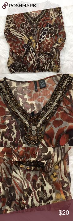 Animal Print Beaded Top Gorgeous beaded top from New Directions. Gently worn and in great condition. new directions Tops