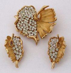 Vintage Crystal Rhinestone Leaf Brooch Earrings Kramer