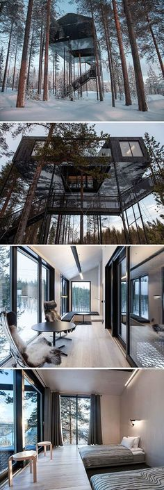21 The Most Unique Modern Home Design in the World [NEW] is part of architecture - Modern house designs Discover the unique design ideas of a modern home here There are 21 examples of home design ideas created by professional architects Future House, My House, House In The Forest, Forest Home, Forest Cabin, House Art, Future City, Architecture Design, Sustainable Architecture