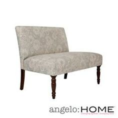 angelo:HOME Bradstreet Vintage Sea Foam Blue Floral Upholstered Armless Settee | Overstock.com Shopping - The Best Deals on Sofas & Loveseats