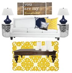 Birch Grove Interiors, Navy and yellow pillows, yellow rug, silver end table, navy lamp, you are my sunshine, white couch