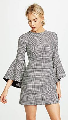 online shopping for alice + olivia Thym Trumpet Sleeve Dress from top store. See new offer for alice + olivia Thym Trumpet Sleeve Dress Casual Dresses, Short Dresses, Fashion Dresses, Check Dress, Silk Mini Dress, Party Dresses For Women, Wedding Dresses, Dress Cuts, Classy Outfits