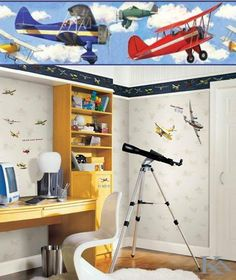 Hits for Kids - Collection - Wallpaper - Airplane Room, Airplane Silhouette, Bedroom Themes, Room Inspiration, Desk, Wallpaper, Kids, Furniture, Collection