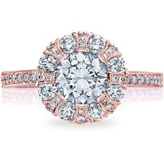 Tacori 2642RD55 Rose Gold Simply Tacori Bloom Engagement Ring Setting ($4,940) ❤ liked on Polyvore featuring jewelry, rings, rose gold jewellery, pink gold rings, red gold engagement rings, rose gold jewelry and pink gold engagement rings