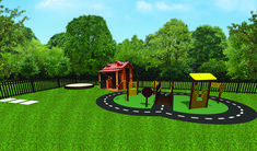 This is a daycare playground, which includes our Small Trike Path Package, a circular sandbox, and a cabin.
