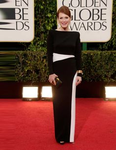 Julianne Moore in a custom-made Tom Ford monochrome gown at the Golden Globes 2013