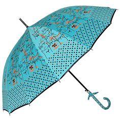 Amazon.com | Uniumbrella Polka Dots Cat Animal Print Stick Rain Umbrella, Blue | Umbrellas