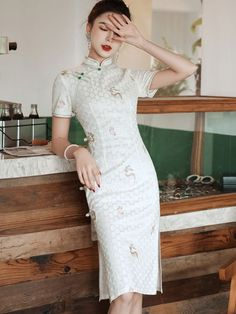 Green White Embroidered Deer Lace Qipao / Cheongsam Dress Custom Made Clothing, Cheongsam Dress, Mandarin Collar, Lace Overlay, Pink Lace, Dress P, Deer, Short Sleeve Dresses, Fashion