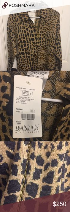 Coat, jacket,sweater Beautiful Bassler, pure wool, jacket.  NWT cheetah print, or leopard print.  Small snag on front.  It is shown in a close up in one of the pictures. Basler Jackets & Coats