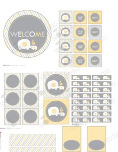 Elephant Yellow and Gray Baby Shower Printable DIY Party Package - Instant Download. $10.00, via Etsy.