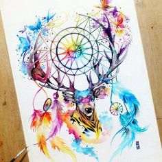 Watercolour mandala art drawing of a stag/deer including a dreamcatcher