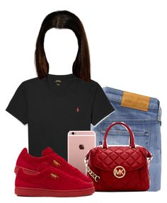 """Untitled #478"" by dessy-k ❤ liked on Polyvore featuring Levi's Made & Crafted, Polo Ralph Lauren, MICHAEL Michael Kors and Puma"