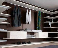 Italy design clothes shop storage aluminum walk in wardrobe Walking Closet, Walk In Wardrobe, Wardrobe Design, Lofts, Clothing Store Interior, Sofa Design, Interior Design, Dressing Room Closet, Master Closet