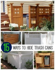 The reason I like these is you can start with a simple one and then tackle a much harder one after gaining some experience and confidence.  http://diy-alternative-energy.com/15-best-looking-ways-hide-trash-cans-frugal-fabulous/