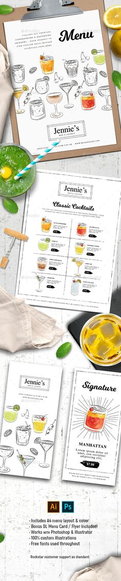 #Cocktail #Menu Templates 3 - #Food Menus Print Templates