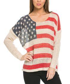 Another great find on #zulily! Beige American Flag Dolman Sweater #zulilyfinds