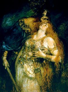 Ferdinand Leeke, The Last Farewell of Wotan and Brunhilde (1875)