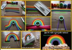 Rainbow with Clouds Tutorial Fondant Gumpaste or clay Great for a Carebears cake Cake Topper Tutorial, Fondant Tutorial, Cake Toppers, Cake Decorating Techniques, Cake Decorating Tutorials, Design Tutorials, Fondant Rainbow, Care Bear Birthday, Cupcakes Decorados